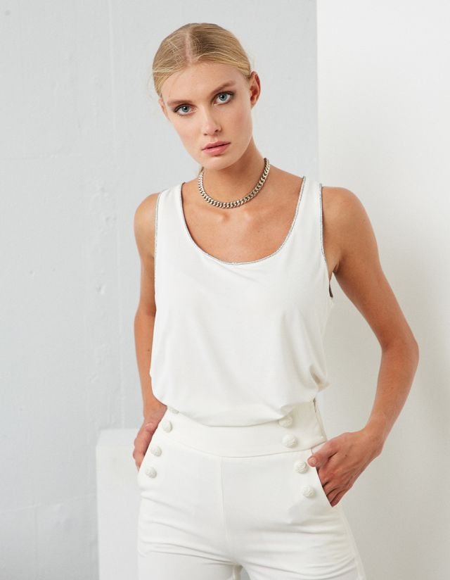 BASIC SLEEVELESS BLOUSE WITH STRASS