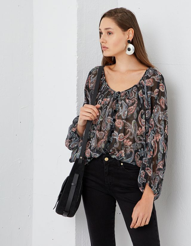 PRINTED FLOWY BLOUSE