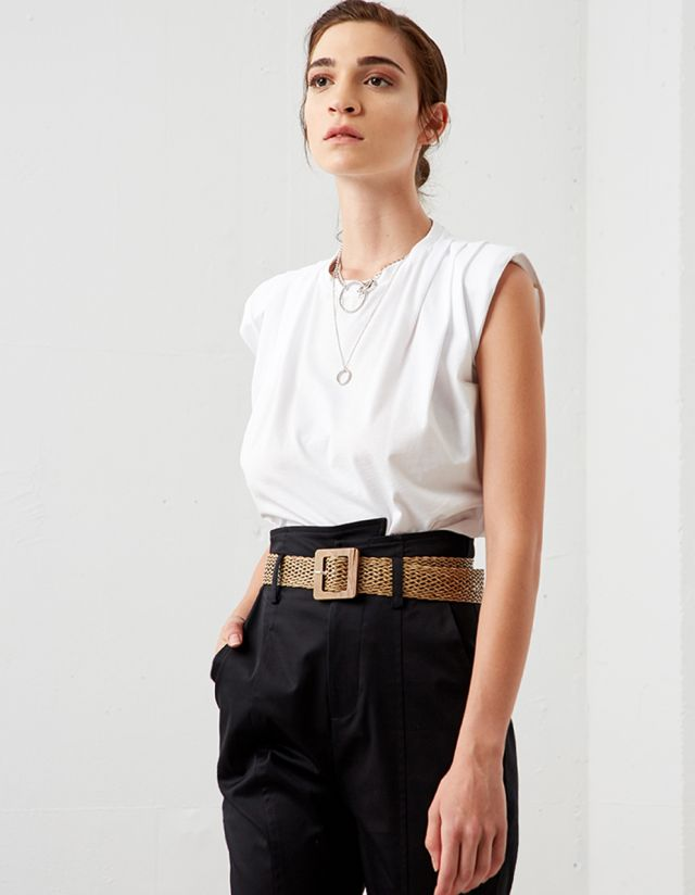 COTTON TOP WITH PADDED SHOULDERS