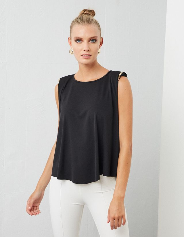 SHOULDER PADDED TOP WITH METALLIC DETAILS