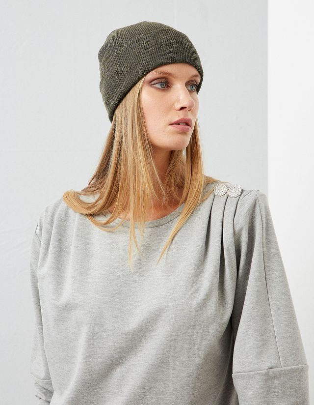 SHOULDER PADDED SWEATSHIRT