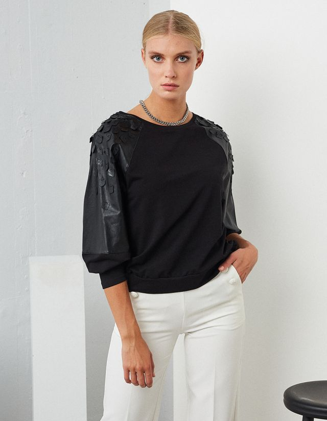 BLOUSE WITH LEATHER EFFECT DETAILS