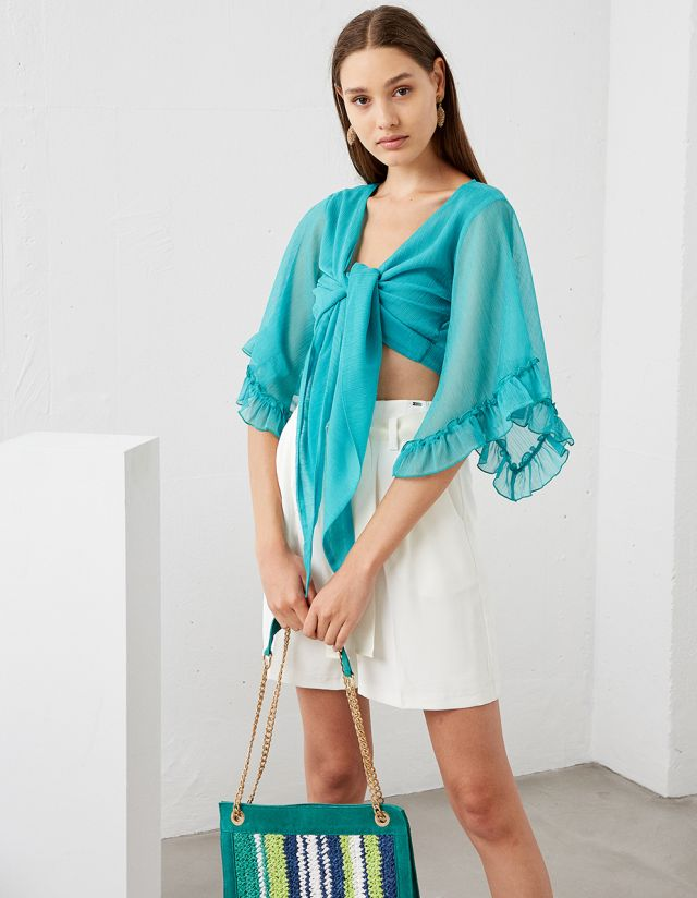 WRAP BLOUSE WITH FRILLS