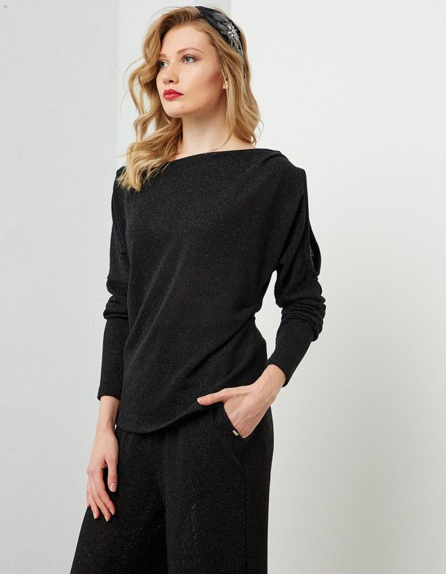 ASYMMETRIC LUREX BLOUSE