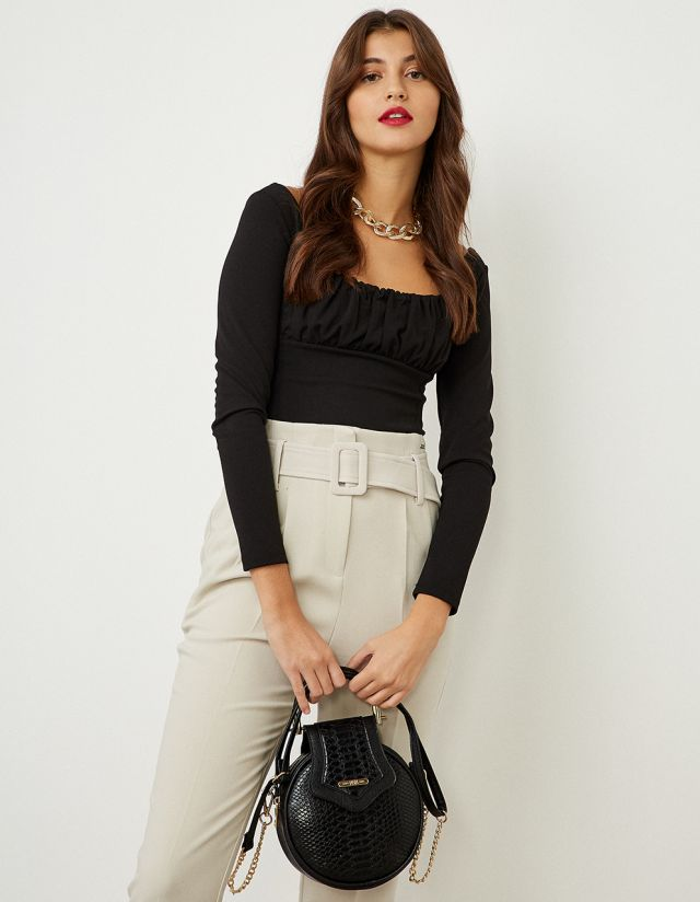 CROP TOP WITH GATHERED CHEST