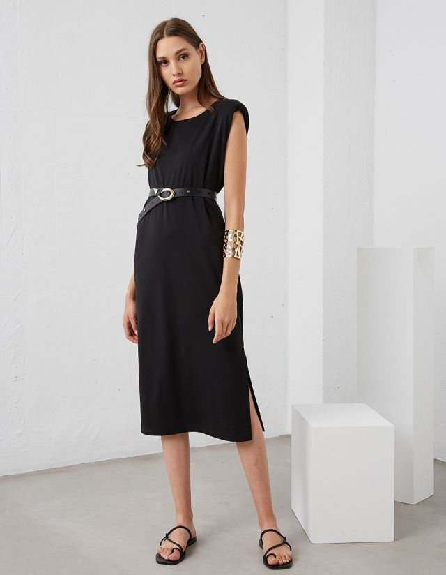 MONOCHROME DRESS WITH PADDED SHOULDERS