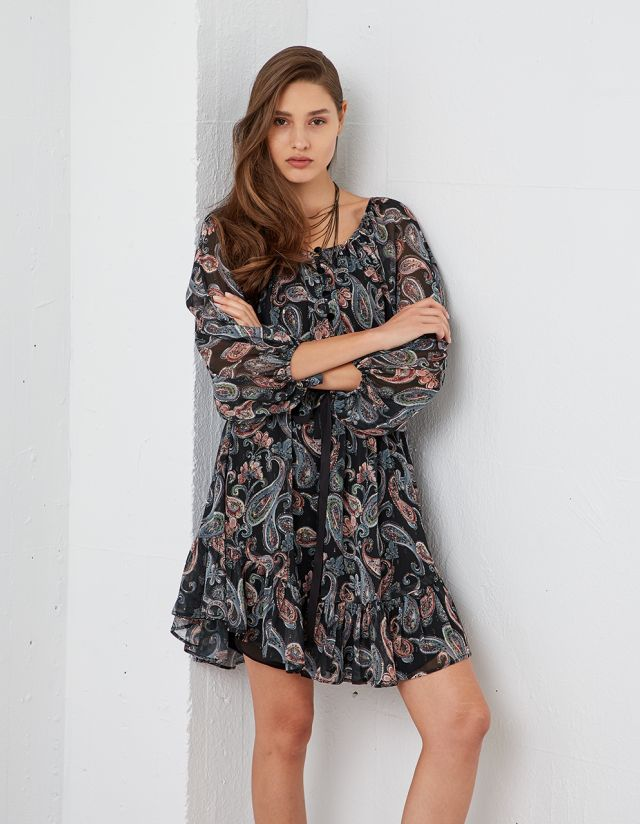 MINI DRESS WITH PAISLEY PRINT
