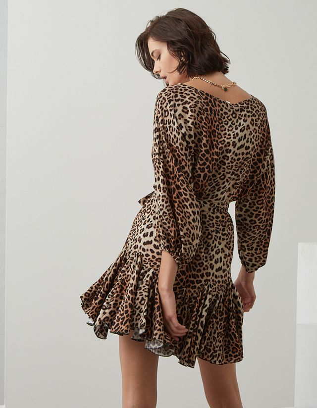 LEOPARD PRINT DRESS WITH FRILLS