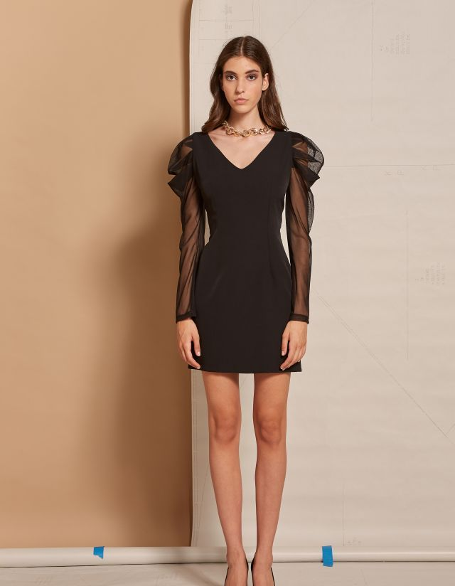MINI DRESS WITH MESH SLEEVES
