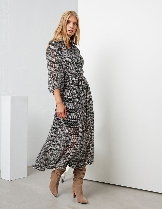PRINTED MAXI SHIRT DRESS