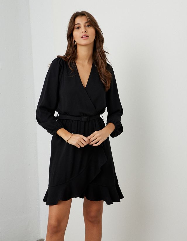 WRAP DRESS WITH FRILLS