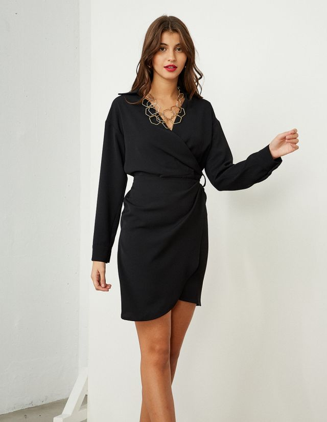 MINI WRAP DRESS WITH COLLAR