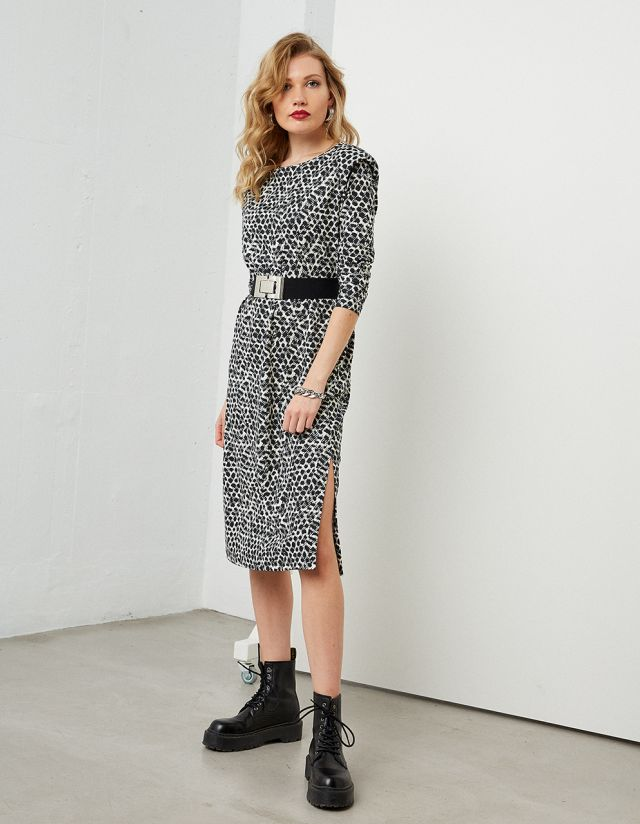 PRINTED MIDI DRESS WITH SHOULDER PADS