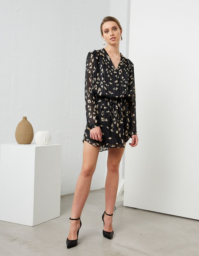 WRAP DRESS WITH GOLDEN PRINT