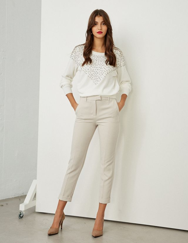 TAILORED TROUSERS WITH REVERSED HEM