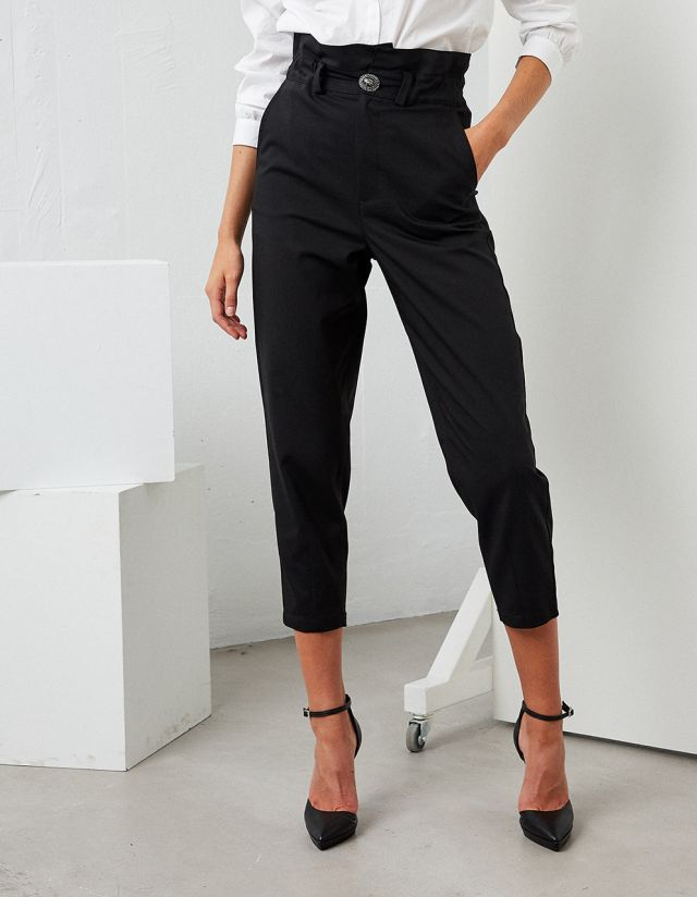 HIGH WAISTED TROUSERS WITH BEJEWLED BUTTON