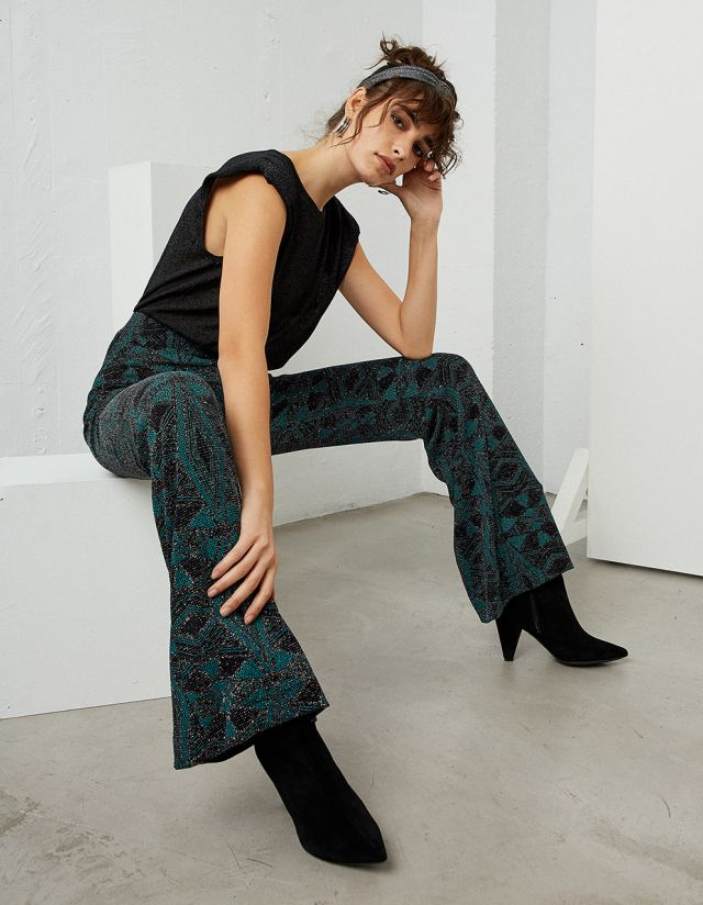 FLARED LUREX TROUSERS