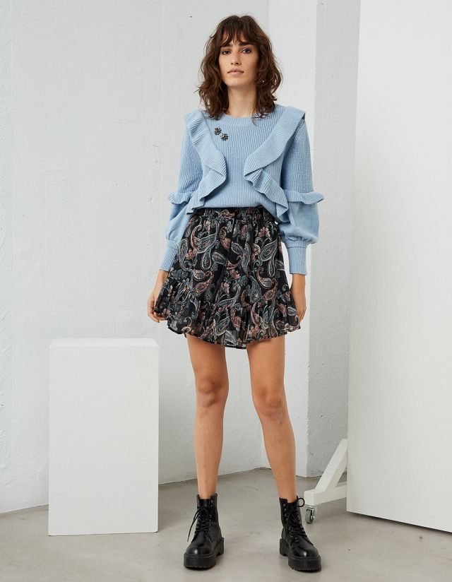 SHIRRED PAISLEY PRINT SKIRT