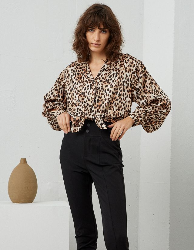 LEOPARD PRINT SHIRT WITH KNOT