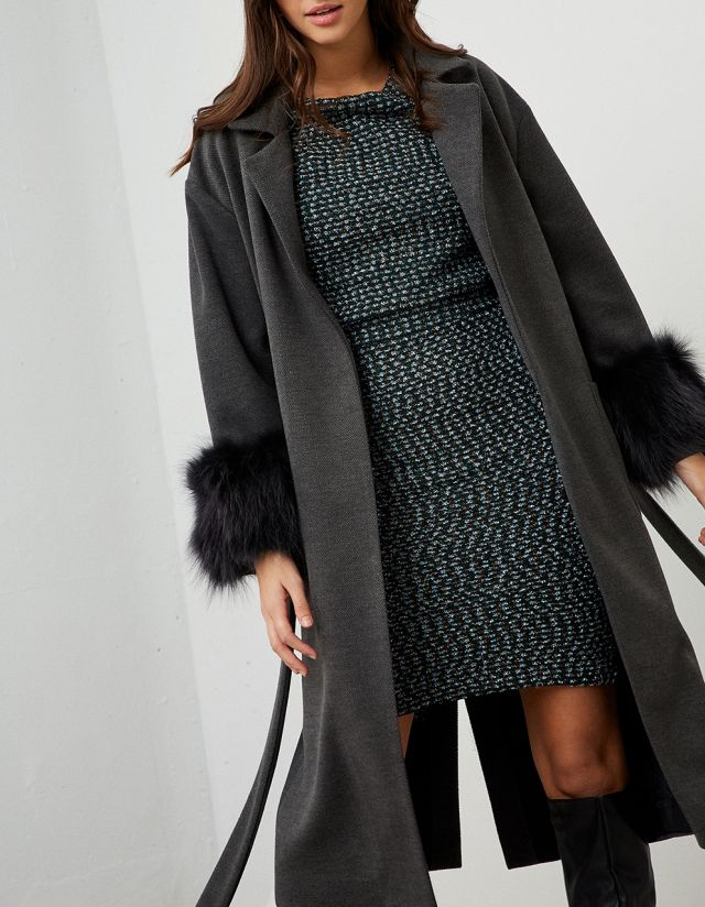 COAT WITH FAUX FUR CUFFS