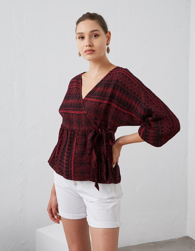 BLOUSE WITH WRAP FRONT