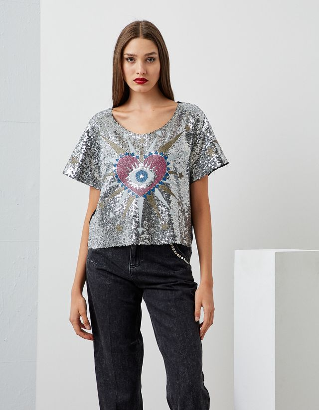 SEQUIN T-SHIRT WITH PRINT