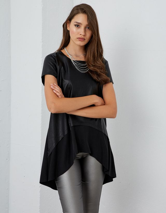 ASYMMETRIC LEATHER EFFECT BLOUSE