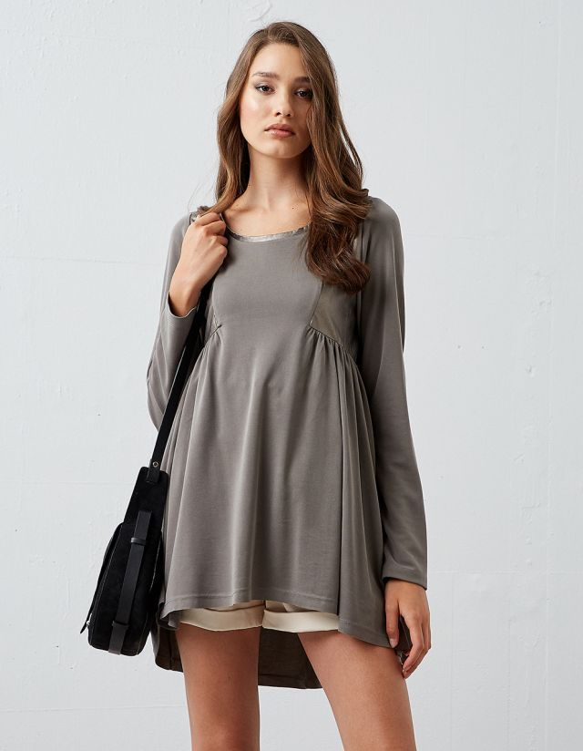 LEATHER EFFECT BLOUSE