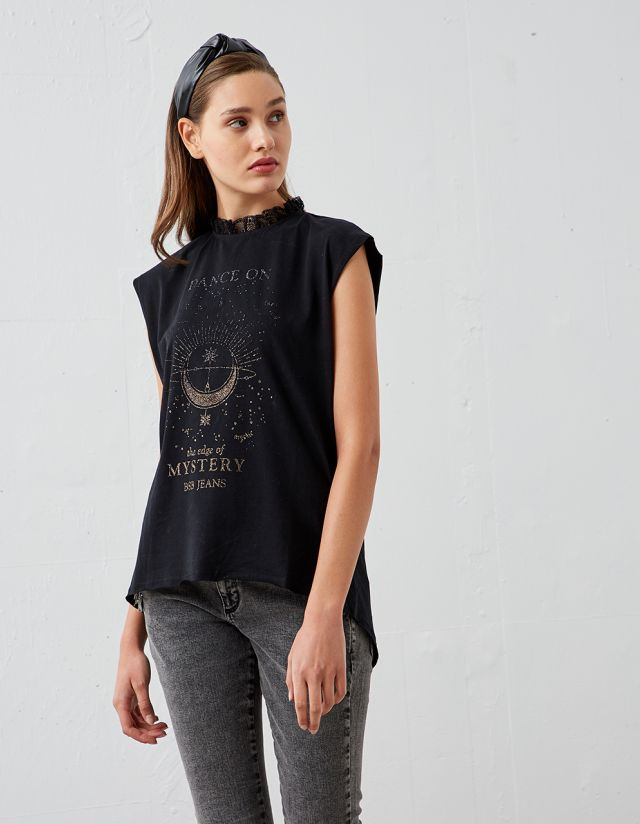 LONGLINE T-SHIRT WITH GLITTER