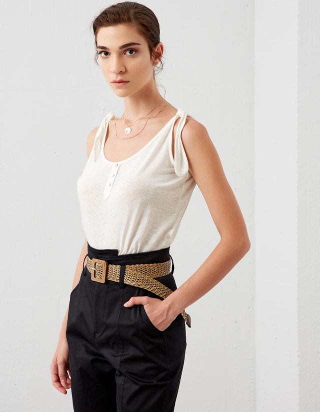 TOP WITH SELF-TIE STRAPS