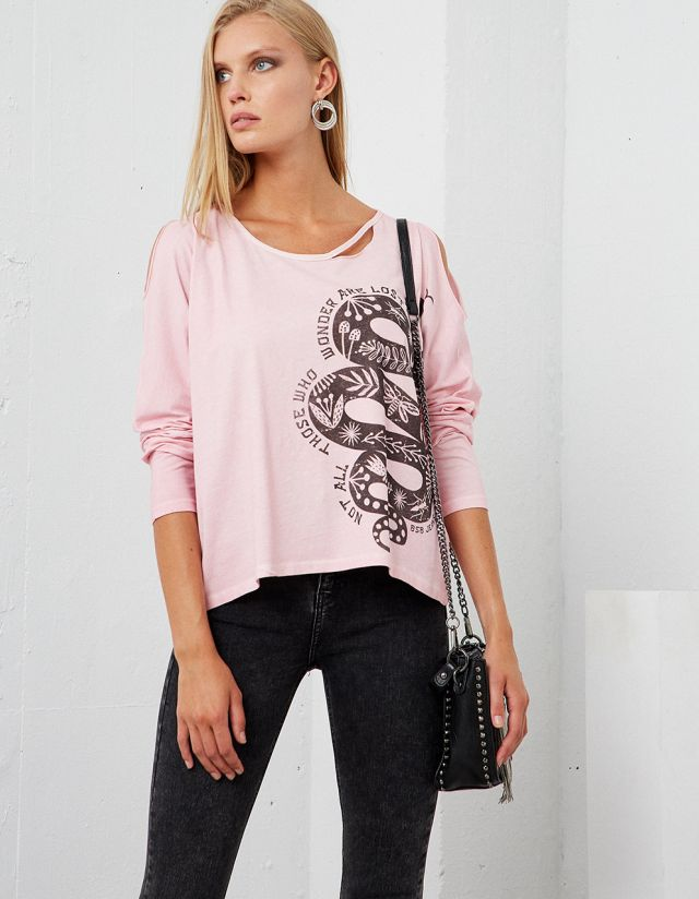 LONG SLEEVE T-SHIRT WITH CUTOUTS