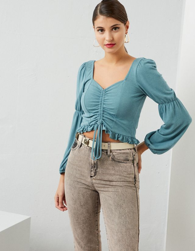 CROP TOP WITH GATHERED FRONT