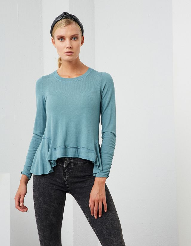 LONG SLEEVE BLOUSE WITH FRILLS