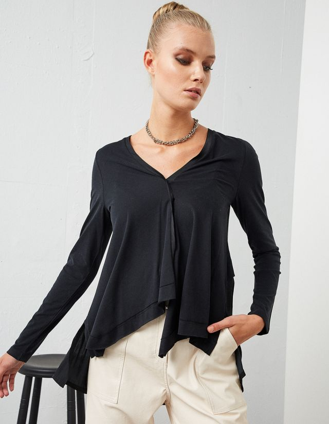 LONG SLEEVE ASYMMETRIC TOP