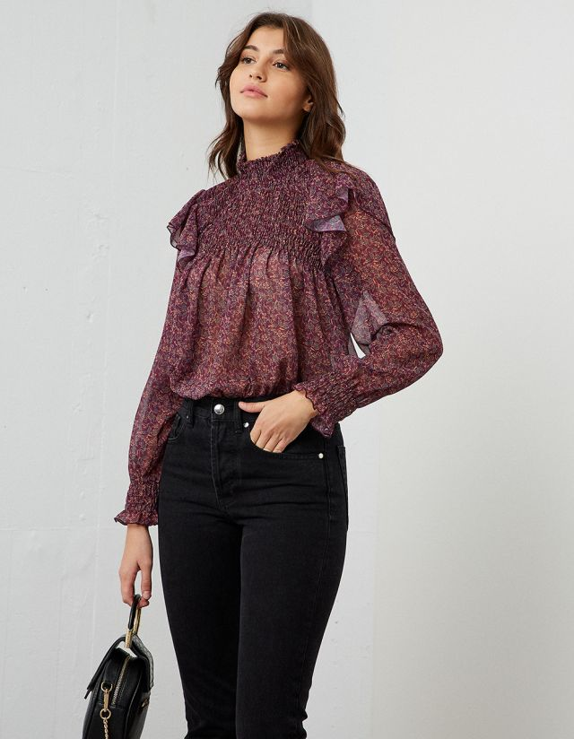 FLORAL SHIRRED BLOUSE