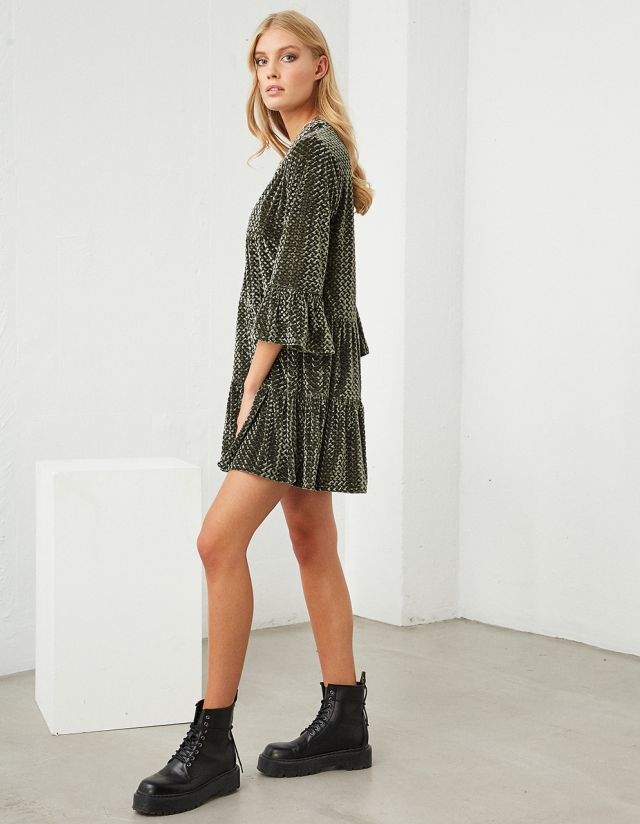 VELVET MINI DRESS WITH FRILLS