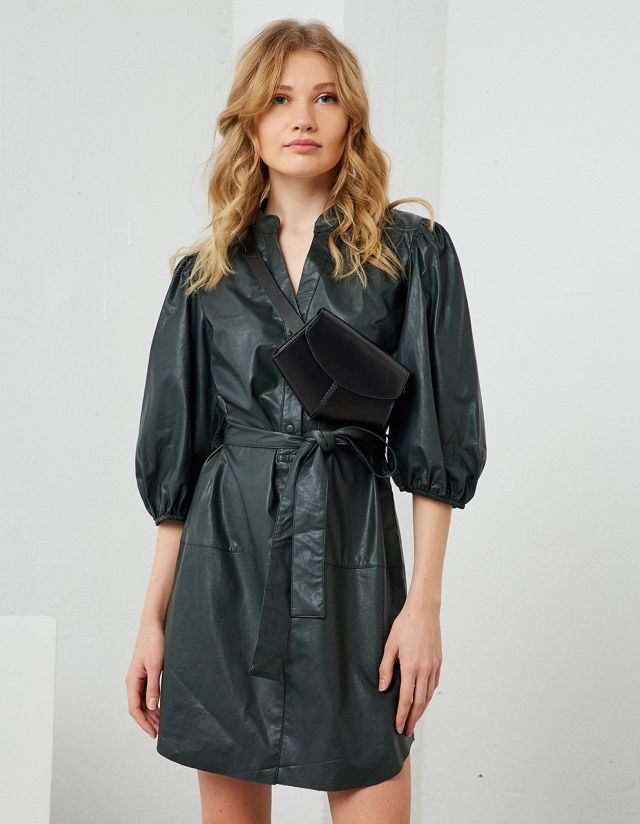 LEATHER EFFECT DRESS