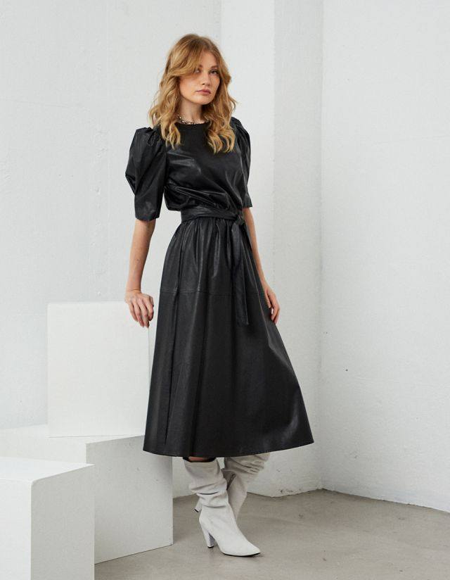 MIDI DRESS WITH LEATHER EFFECT
