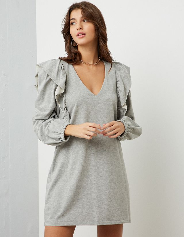 SWEATER DRESS WITH FRILLS