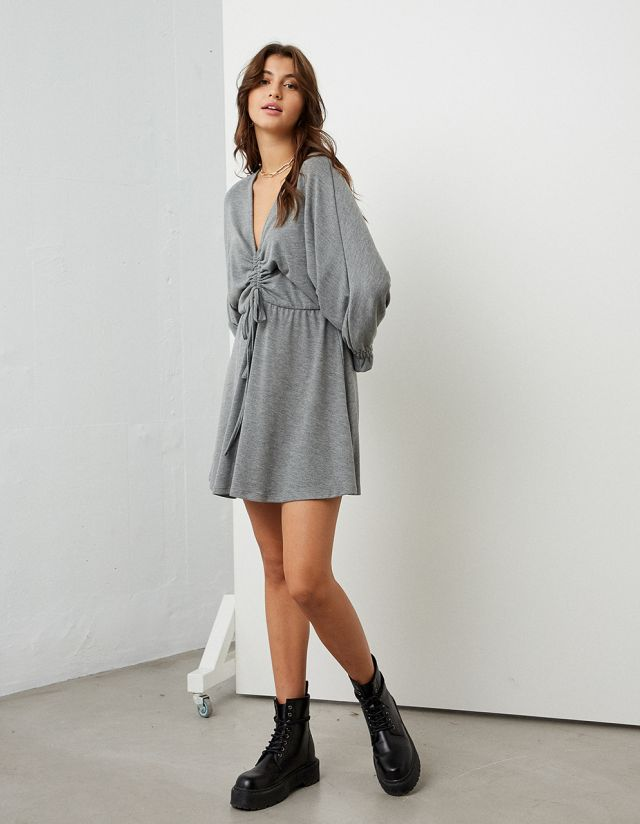 DRESS WITH GATHERED FRONT