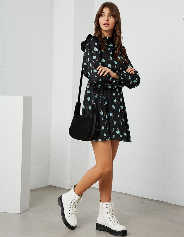 LONG SLEEVE MINI FLORAL DRESS
