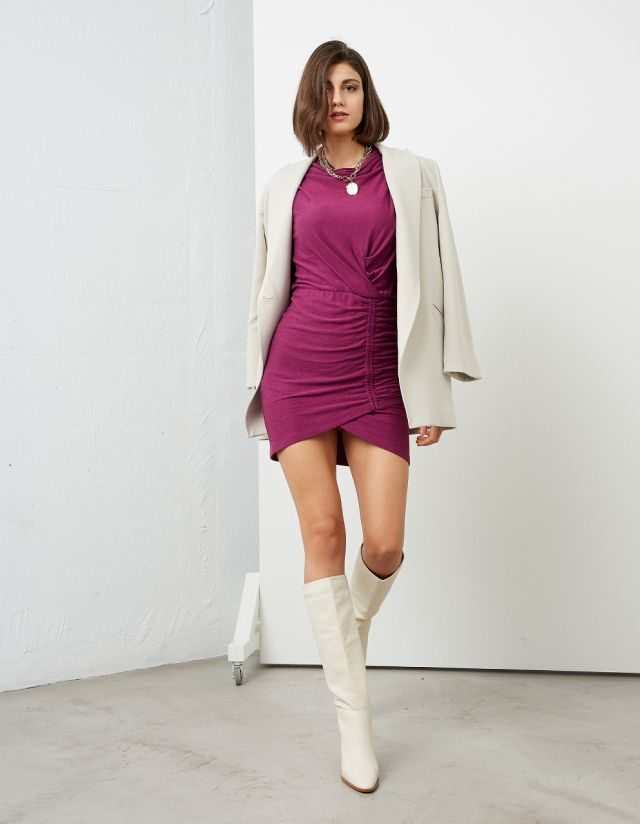 MINI DRESS WITH SIDE RUCHED SIDE