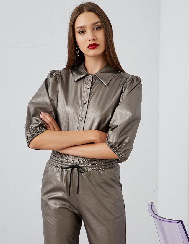 LEATHER EFFECT SHIRT