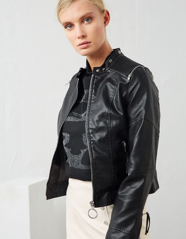 LEATHER EFFECT CROPPED JACKET