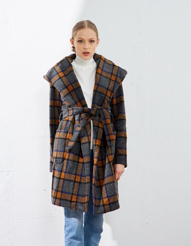 CHECK COAT WITH HOOD