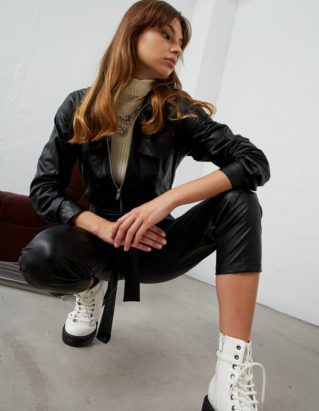 LEATHER EFFECT BOILER SUIT