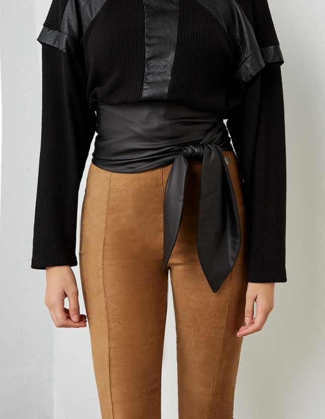 LEATHER EFFECT WIDE BELT