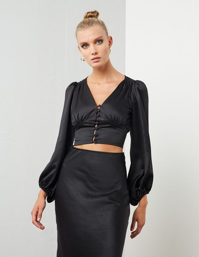 SATIN CROP TOP WITH PUFFY SLEEVES