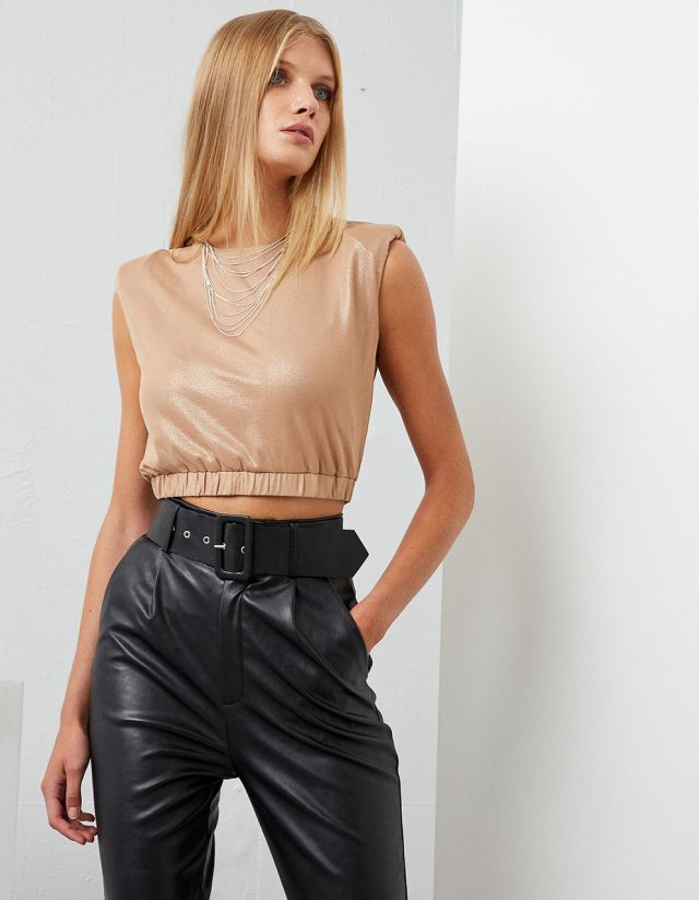 METALLIC CROP TOP WITH PADDED SHOULDERS