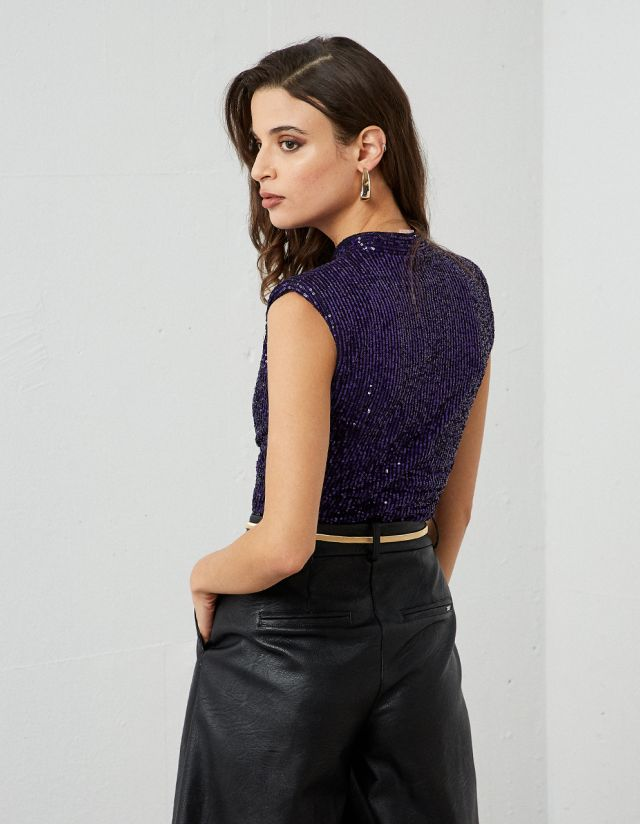 SLEEVELESS TOP WITH SEQUINS